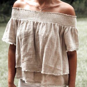 Moon river linen off the shoulder shirt.